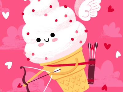 Ice Cream Cupid valentinesday valentines day love cupid illustration humor cute