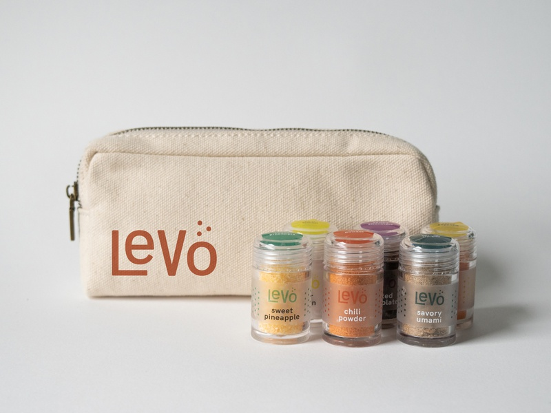 Levo Travel Kit jar anosmia design branding umami spice seasoning travel kit label bag packaging