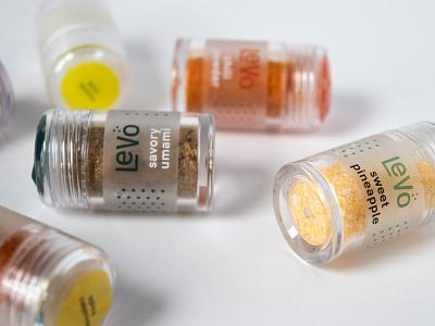Levo Travel Kit Jars logo design branding umami spice seasoning label jar anosmia packaging
