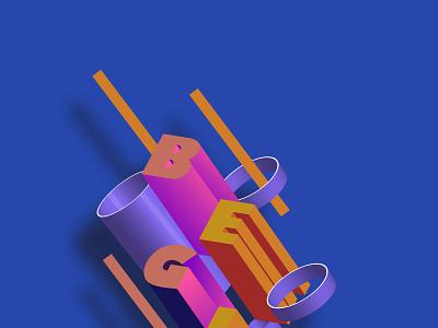 BEGIN 3D POSTER icon ux logo vector typography minimal branding illustration design