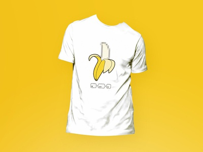 BANANA PIXELATION T-SHIRT pixelate banana design graphic tshirts weekty