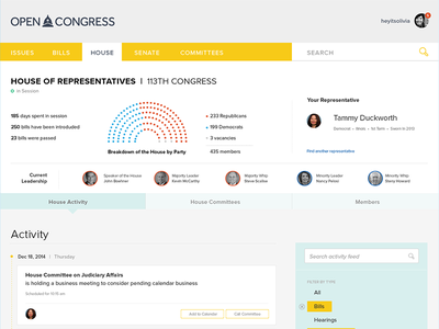 House of Representatives on OpenCongress ui opengov government dashboard open design panel landing page congress sunlight foundation opencongress