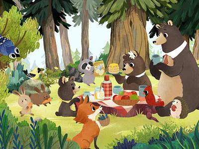 Bear's picnic cute illustration animals kidlitart childrens book children book illustration digital illustration photoshop illustration