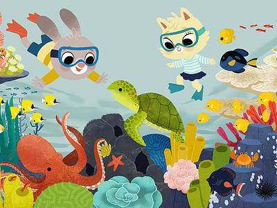 Reef scene ocean undersea animals kidlitart illustration digital illustration cute illustration childrens book children book illustration