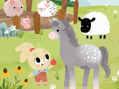 Farm scene 1 farm farm scene animals kidlitart illustration digital illustration cute illustration childrens book children book illustration