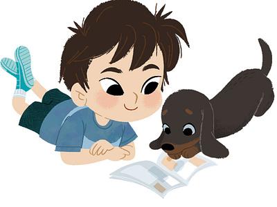 Enjoying comics together pets character design kidlitart illustration digital illustration cute illustration childrens book children book illustration