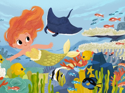 Mermaid scene fish mermaids mermaid ocean animals kidlitart illustration digital illustration cute illustration childrens book children book illustration