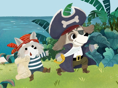 Captain and map caretaker pirates dog art character design animals kidlitart illustration digital illustration cute illustration childrens book children book illustration