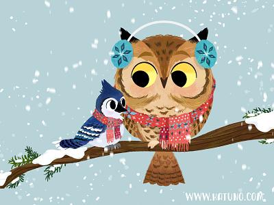 Winter pals 01 winter holiday owls animals kidlitart illustration digital illustration character design cute illustration childrens book children book illustration