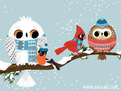 Winter Pals 2 winter holiday owls character design animals kidlitart illustration digital illustration cute illustration childrens book children book illustration