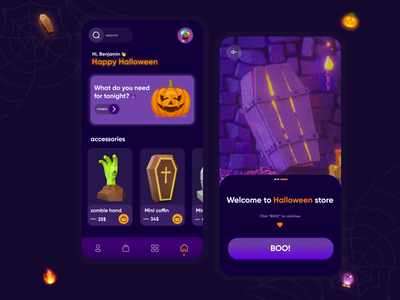 halloween store visual design mobile app mobile ui 3d halloween store halloween design halloween icon app ux ui design