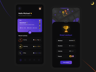 workout app [dark mode] dark mode dark ui dark uiux uiuxdesign exercise app workout tracker workout app workout exercises concept ui visual design ux mobile ui mobile app design app