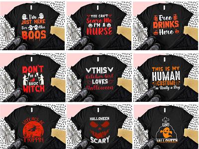 Halloween T-shirt Design Bundle 2 branding design illustration graphic design t-shirt design halloween halloween t-shirt design