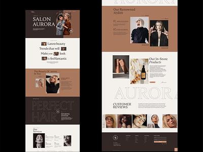 Beauty & hairsalon website design ui layoutdesign logo layout webdesign web typography flat vector design minimal branding