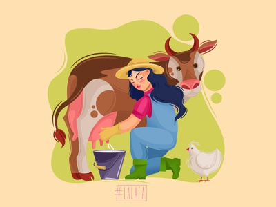 The Milkmaid farm milking milk cow chicken farming girl animals characters vector illustration