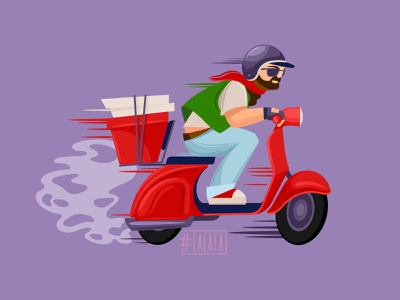 Fast delivery pizza biker helmet motorcycle speed fast food food design characters vector illustration
