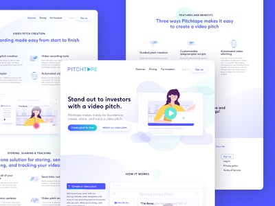 Pitchtape — Website + visual language redesign ui illustration iconography identity graphic typography front-end branding design responsive graphic design web design