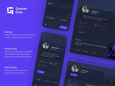 Gamer One - Brand + UX/UI product design logo identity branding design front-end ux ui responsive web design gamers game