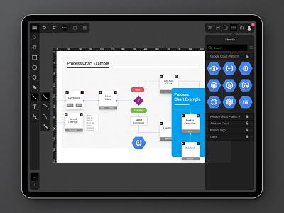 SVG Diagramming App on Ipad diagramming editor dark theme ipad app svg ui