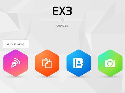 Ex3 hexagon icons colorful camera bookmark wireless writing ui
