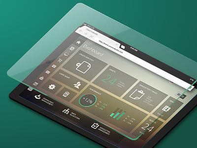 Dashboard mockup on tablet dashboard tablet mockup isometric