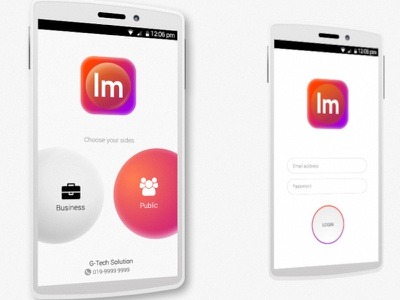UI for Android Apps login business public warm color mockup