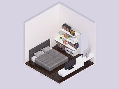 3D Isometric Bedroom Interior Render 3d iso isometric interior cube render realistic