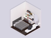 3D Isometric Bedroom Interior Render
