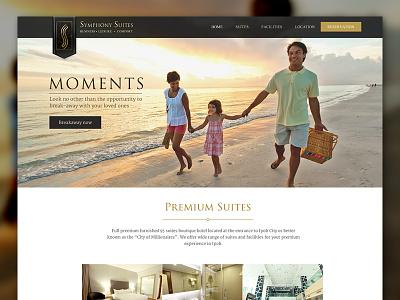 Hotel web layout design - rejected mockup black gold layout web hotel