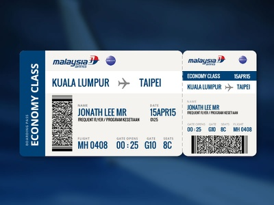 Malaysia Airlines Boarding Pass malaysia mas blue airline ticket boarding pass
