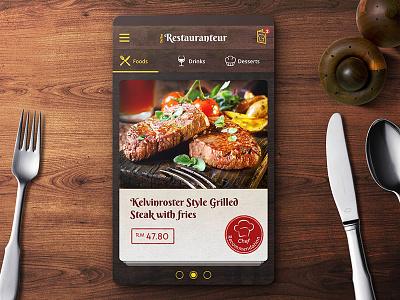 Restaurant Menu Ordering App UI Design beef steak texture wood dark app food menu restaurant