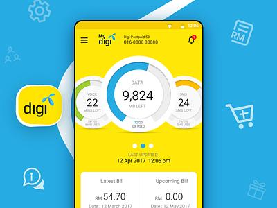 Digi App Re Design ui malaysia blue yellow app android telco digi