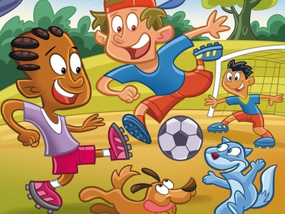 Let's Play!! pet illustration soccer goal football character development character design picture book kids illustration kids art illustration designing for children childrens product childrens illustration childrens book