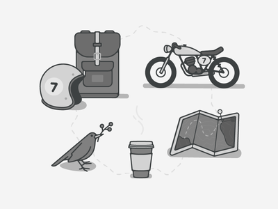 Travel set  weekend friday bird noir coffee map cafe racer motorcycle illustrations travel