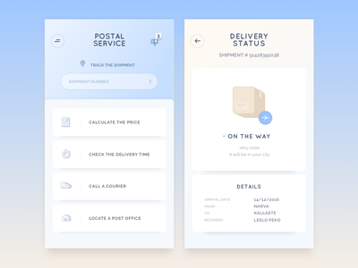 Postal service app concept delivery status sand blue cartoon icons nice colors shipment stress-free postal