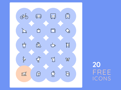 20 Free Icons animals food family shopping blue circles icons free freebie