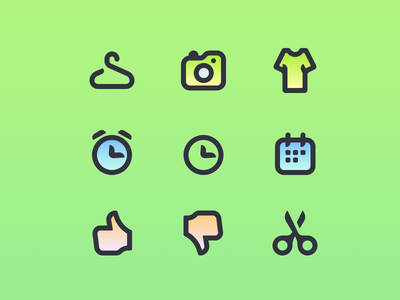 Icon set iconography gradient green colorfull illustration icons
