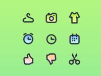 Icon set iconography gradient green colorfull illustration icons