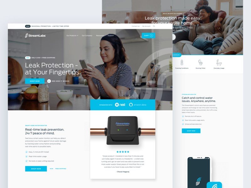 StreamLabs Water II checkout water ui design uiux ui mobile shopify ecommerce responsive website connected devices smarthome