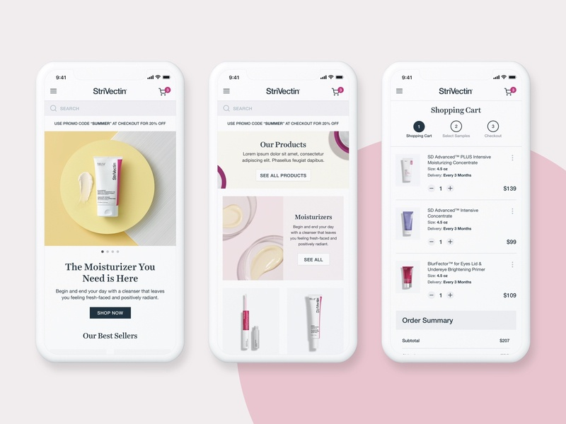 StriVectin IV makeup mobile checkout mobile website shopify beauty products beauty responsive website ecommerce ui design