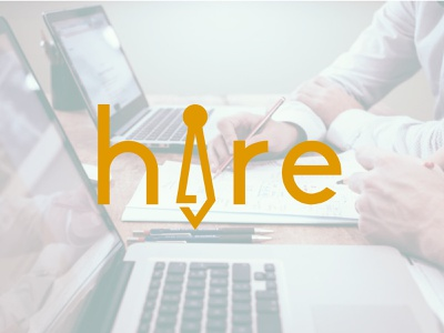 Hire Logo flat design typography illustration type minimal vector logo graphic design branding
