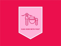 Can I Ride with You? valentine illustration branding iconography badge icon valentinesday