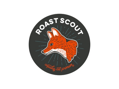 Roast Scout - foxhead logo branding fox