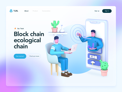 Landing page x 3d Character