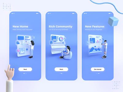 Lead Page x 3d blue carton cinema 4d interface home page lead page app app design 3d character 3d uiux ux ui