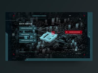 Data Center x FUI interface ux ui fuidesign data data visualization c4d city 3d hud fui