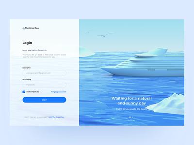 The Great Sea x C4d ship c4d login page website design blue sea web 3d interface uiux ux ui