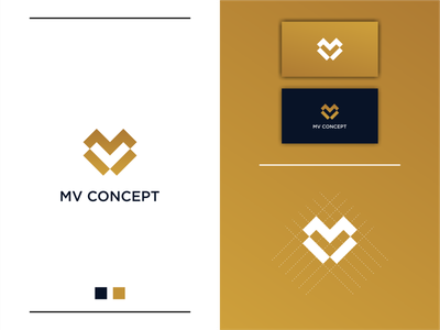MV Concept Logo Designs vector simple modern minimal logotype icon flat clean branding design logo