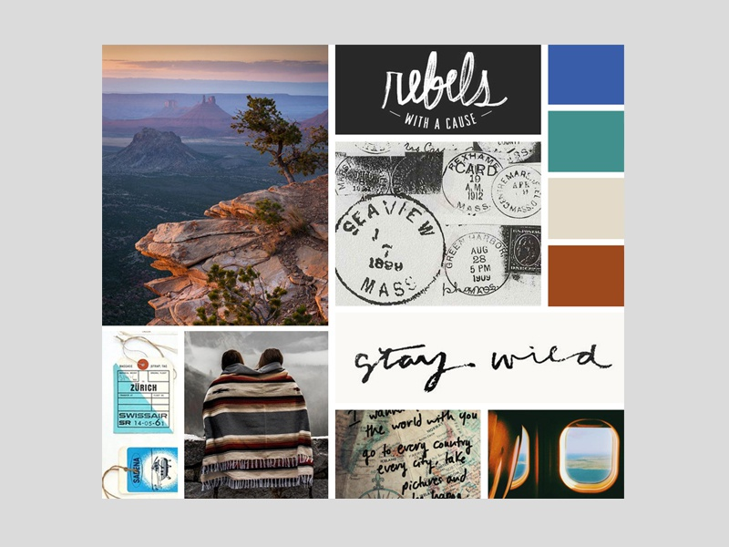 Moodboard for a Couple's Travel + adventure blog logo branding logo color palette tone inspiration moodboard