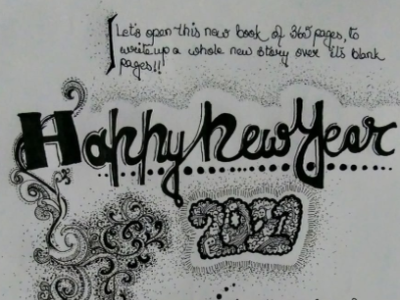 happy new year microtip pen art stippling drawing design